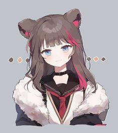 Dark Anime Guys, Cool Anime Girl, Kawaii Anime Girl, Anime Art Girl, Oc Manga, Manga Hair, Manga Anime, Anime Hair Color, Bear Girl