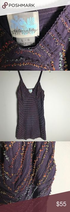 Intimately Free People dress Intimately Free People large purple with blues, oranges, yellows, and browns adjustable straps babydoll style worn and preloved, lots of life left! Free People Dresses Mini