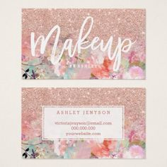 #makeupartist #businesscards - #Makeup artist typography rose gold pastel floral business card