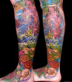 Lower Leg Tattoo Sleeves Underwater leg lower part