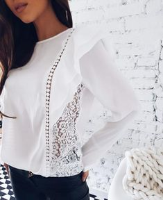 Spring Lady New Sexy Lace Hollow Stitched Chiffon Blouse O-Neck Long Sleeve Ruffle Sweet Causal Shirts Western Tops, African Traditional Dresses, Blouse Online, White Lace, Pink White, Spring Summer Fashion, Blouses For Women, Long Sleeve, Sleeves
