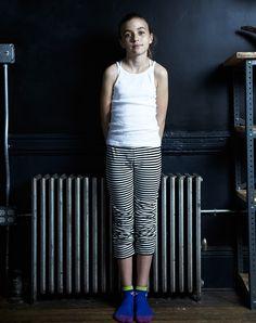 GOAT-MILK kidware   100% organic cotton basics   girl's thermal striped short