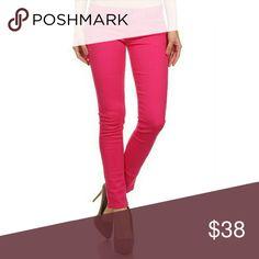Fuschia Denim Jeans 96% Cotton 4% Spandex Jeans Skinny