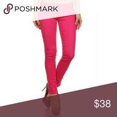 Fuschia Denim Jeans 96% Cotton 4% Spandex Jeans Skinny