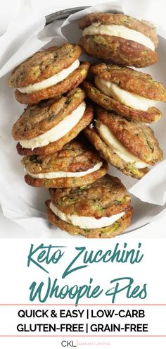 Indulge your sweet tooth with these Keto Zucchini Bread Whoopie Pies! They are keto, low-carb, grain-free, and gluten-free! Desserts Keto, Keto Friendly Desserts, Keto Snacks, Dessert Recipes, Breakfast Recipes, Diet Breakfast, Easy Snacks, Recipes Dinner, Ketogenic Recipes