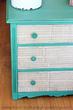 Small Green Dresser with Music Sheet by shabbygirlglendora on Etsy, $320.00