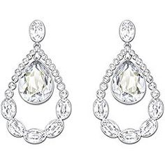 SWAROVSKI - Almost Pierced Earrings - Embellished with clear crystals in different shapes and sizes, this stunning pair of rhodium-plated earrings seduces with its elegant silhouette. The timeless coloring complements any outfit. Article no.: 5043655 http://www.swarovski.com/Web_US/en/5043655/product/Almost_Pierced_Earrings.html#share