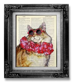 Cat Art Print, Cat Posters, Cat Wall, Art Decor, Cube Decor, Hanging Wall Art, Star Wars Art, Dog Art, Cat Sunglasses
