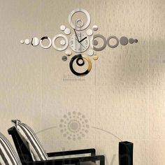 shatterproof mirror Wall Clock Decorative Home by walldecal76