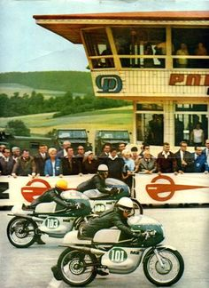Sachsenring 1967 —250cc—101 Rosner Heinz, 103 Woodman Derek, 100 Bischoff Hartmut. Pic: George Karamanos