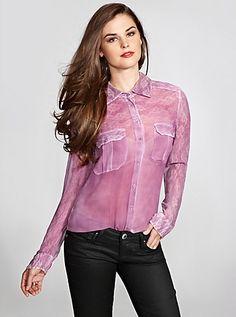 Long-Sleeve Stencil Spray Shirt | GUESS.com