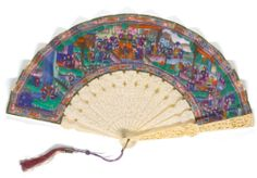 A CANTON PAINTED AND CARVED IVORY FAN QING DYNASTY, CIRCA 1860-1880