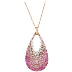 Pink Sapphire Diamond Gold Drop Pendant | From a unique collection of vintage drop necklaces at https://www.1stdibs.com/jewelry/necklaces/drop-necklaces/