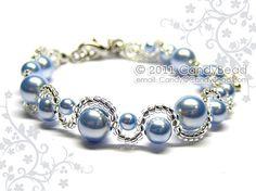 Swarovski bracelet Light Blue Pearl Bracelet by by candybead, $7.50