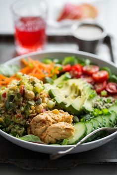 The Nourish + Glow Miracle Bowl recipe.  Protein: chickpeas, cashews, hummus