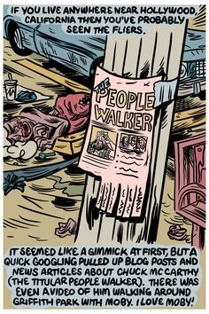 """Chuck is a """"People Walker"""" in Los Angeles. Here's a strip by Andrew Greenstone about buying a walk with him - Stop and Smell the Roses -"""