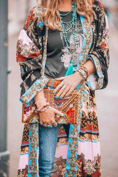 Let's go boho chic! With this amazing bohemian style kimono called the Let's Dance Robe from FreePeople you will turn heads! - The latest in Bohemian Fashion! These literally go viral!