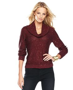 Chestnut color size L..at Macy's  INC International Concepts Sweater, Long-Sleeve Cowl-Neck Sequin - Womens Sweaters