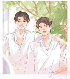 Thai Drama, Ulzzang Couple, Cartoon Wallpaper, Gay Couple, Aesthetic Art, Love Story, Anatomy, Salsa, Fanart