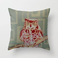Perched Horned Owl spray paint stencil painting Throw Pillow by Matt Kuhlman - $20.00