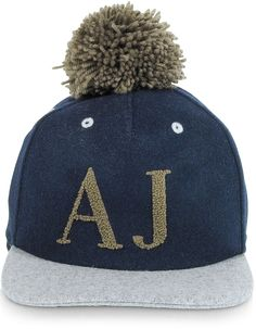 Armani Jeans Blue and Gray Wool Blend Pom Pom Baseball Hat