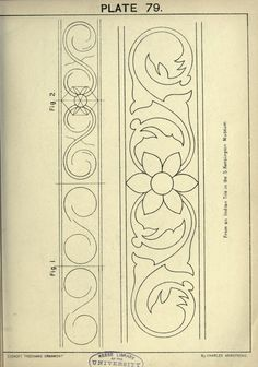 see site for many more - 1895 - Cusack's freehand ornament. A text book with chapters on elements, principles, and methods of freehand drawing, for the general use of teachers and students . by Armstrong, Charles Wood Carving Patterns, Carving Designs, Pattern Art, Pattern Design, Fond Design, Motifs Art Nouveau, Molduras Vintage, Teacher Ornaments, Ornament Drawing
