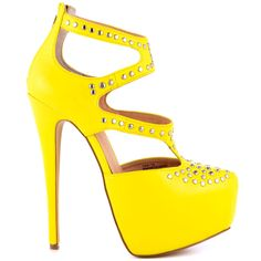 Change up your look with the Tipsy.  This over the top style features a yellow synthetic leather with clean cut outs and studs.  A serious 6 inch stiletto heel and 2 inch platform finish off this hot pump.