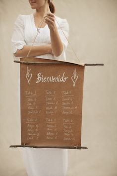 Brown paper seating chart. We've put together more rustic ideas for your seating plan on our blog http://www.toptableplanner.com/blog/a-rustic-country-wedding-table-plan