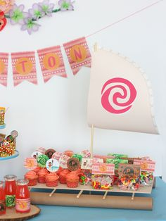 Moana boat  dessert platter DIY tutorial instruction or kit available Moana tropical Hawaiian birthday party ideas