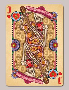 Second Edition of playing cards based on the art and tradition of Dia de los Muertos, designed by Edgy Brothers and printed bv USPCC.  Original Deck Jack of Hearts