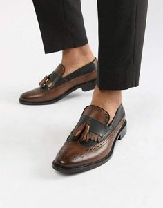 77682d0c21e ASOS DESIGN loafers in tan and black leather with natural sole and fringe  detail