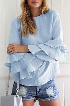 Folded sleeve thin chiffon shirt casual top