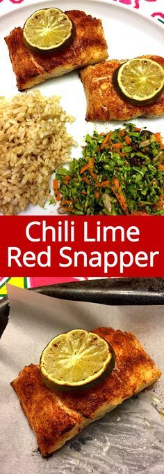 This baked red snapper with chili powder and lime is so easy to make and tastes amazing! Fish Recipes, Seafood Recipes, New Recipes, Cooking Recipes, Healthy Recipes, Advocare Recipes, Healthy Dinners, Recipes Dinner, Easy Meals