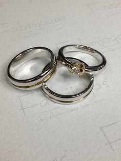 Juego de argollas y anillo oro blanco & amarillo 18 k . Con diamantes. (Fabrijoyas)