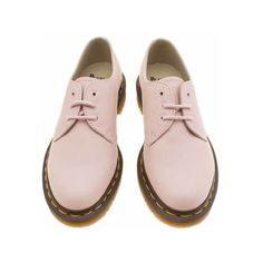 Dr Martens Pale Pink 1461 3-eye Shoe Flats ($135) ❤ liked on Polyvore featuring shoes, flats, pastel shoes, dr.martens flats, pale pink shoes, flat shoes and flat pumps