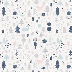 Gray and Pink Baby Woodland Fabric by Carousel Designs.