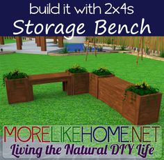 Build an Outdoor Storage Bench out of 2x4s with MoreLikeHome.net.