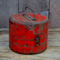 Red Tool Box Small Round Metal Chippy Paint by RibbonsAndRetro, $19.00
