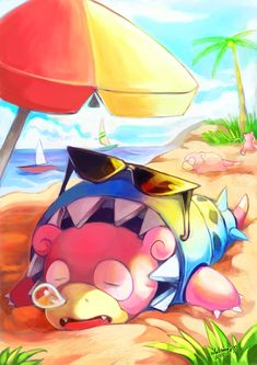 "whitmoon: ""Slowlife Beach"" Another my favorite work in Mega Evolution Artbook…"