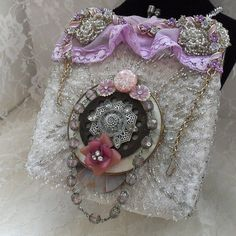 Lavender beaded Pouch, Steampunk Purse, Lavender n silver, glam couture, Bridal, Prom Evening bag