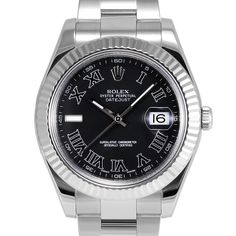 Mens Rolex Datejust II Stainless Steel Black Color Roman Numeral Dial Fluted Bezel Oyster Band