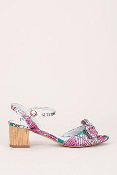 Sandales à talons textile rose imprimé nature noeud Badora 1