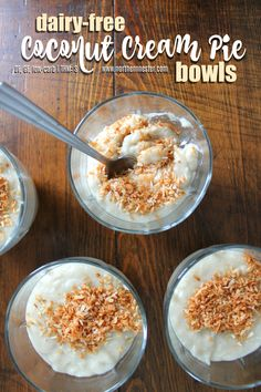 You won't miss the cream in these delicious, dairy-free Coconut Cream Pie bowls which are also gluten-free and low-carb! An easy THM S with no special ingredients.
