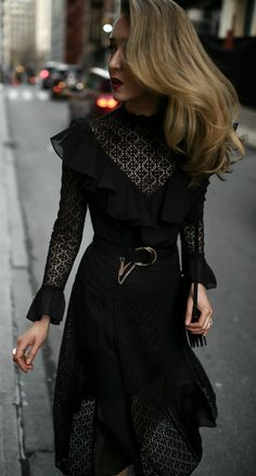 Black Lace Midi Dress // black lace ruffled midi dress, black patent mary jane pumps, black waist belt with chain, black velvet shoulder bag, dark red lipstick {Temperly London, Chloe, Jimmy Choo, special occasion outfit, date night style, what to wear ye #jimmychoobags #specialoccasionoutfits