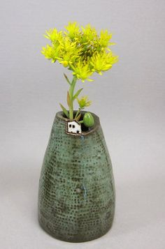 Mossy Hill...Bud Vase / Pen Holder in Stoneware von elukka auf Etsy