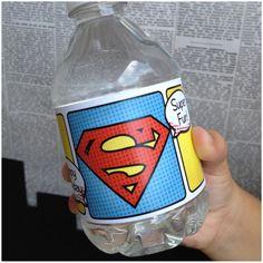 Superhero Collection. SUPERMAN WONDERWOMAN Water Bottle Labels. DIGiTAL DOWNLOAD. DiY Printable Design. Pinkadot Shop