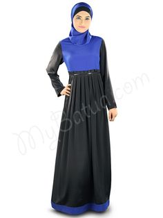 Beautiful Box Pleats Black_Royal Blue Party Wear Abaya | MyBatua.com   Simah Abaya !  Style No : AY-326  Shopping Link : http://www.mybatua.com/simah-abaya  Available Sizes XS to 7XL (size chart: http://www.mybatua.com/size-chart/#ABAYA/JILBAB)  •Dual color abaya with round neckline •Box pleats at waist line with sequence lace detailing  •Fabric strip attached at bottom  •Straight sleeves •Utility pockets on both sides •Matching Square Hijab (100x100 cm approx.)
