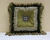 20'' Dark olive green silk velvet luxury decorative square pillow-vintage style pillow-custom made pillow