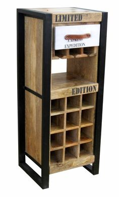 This fantastic Industrial Timber Wine Cabinet is made from mango wood with a steel frame and GI Sheet drawer front.