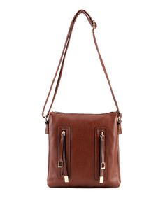 Another great find on #zulily! Dark Brown Vertical-Zipper Crossbody Bag #zulilyfinds